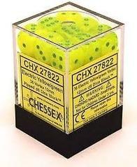 36 Electric Yellow w/ Green Vortex 12mm D6 Dice - CHX 27822