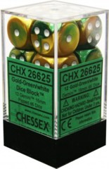 12 Gold-Green/White Gemini 16mm d6 Dice - chx26625