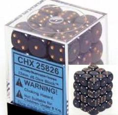 36 Dusty Blue w/gold Opaque 12mm d6 Dice Block - CHX25826