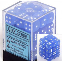 36 Frosted Blue w/White12mm d6 Dice Block - CHX27806