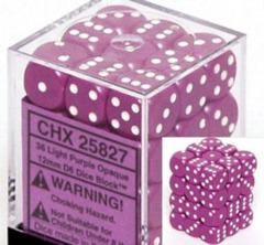 36 Light Purple w/white Opaque 12mm d6 Dice Block - CHX25827