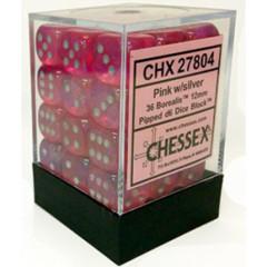36 Pink w/ Silver Borealis 12mm d6 Brick Dice - CHX 27804