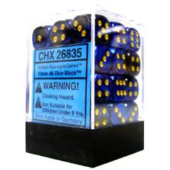 36 Gemini Black-Blue/Gold 12mm d6 Dice Block - CHX26835