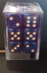 Borealis Royal Purple w/Gold 16mm d6 Dice Block (12)