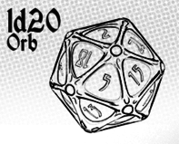 1d20 Orb - Parchment with Black Ink