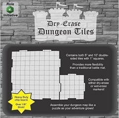 Dry Erase Dungeon Tiles - Dry Erase 5 inch and 10 inch Dungeon Tiles - Combo pack of 21