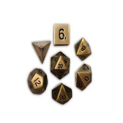Metal Polyhedral Dice Set (7) - Dragon's Gold