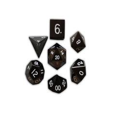 Metal Polyhedral Dice Set (7) - Drow Black