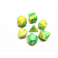 Oscar's Enchanted Blend Green/Yellow  Polyhedral Dice Set (7)