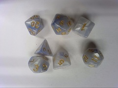 Oscar's Enchanted Blend Pearl/Silver Polyhedral Dice Set (7)