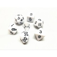 Oscar's Enchanted Opaque White Polyhedral Dice Set (7)