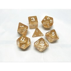 Oscar's Enchanted Glitter Gold Polyhedral Dice Set (7)