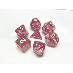 Oscar's Enchanted Glitter Red Wine Polyhedral Dice Set (7)