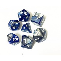 Oscar's Enchanted Blend Blue/Silver Polyhedral Dice Set (7)
