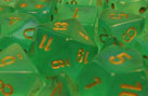 Borealis Light Green w/Gold Polyhedral Dice Set (7)