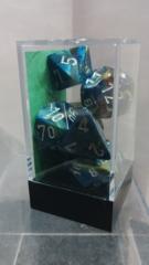Festive Green w/Silver Polyhedral Dice Set (7)