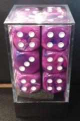 Festive Violet w/White 16mm d6 Dice Block (12)