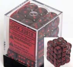 CHX 23818 Smoke w/Red (36 Translucent 12mm Pipped d6 Dice Block)