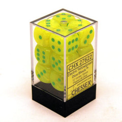 CHX 27622 Electric Yellow w/Green Dice Block (12 Vortex 16mm Pipped d6 Dice)