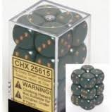 CHX 25615 Dusty Green w/Gold Dice Block (12 Opaque 16mm Pipped d6 Dice)