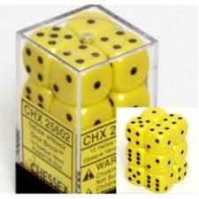 CHX 25602 Yellow w/Black Dice Block (12 Opaque 16mm Pipped d6 Dice)