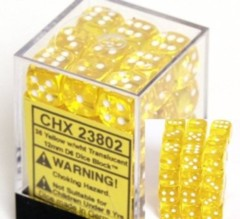 CHX 23802 Yellow w/White (36 Translucent 12mm Pipped d6 Dice Block)