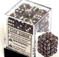 CHX 25808 Black w/White (36 Opaque 12mm Pipped d6 Dice Block)
