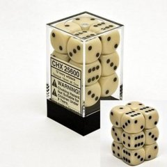 CHX 25600 Ivory w/Black Dice Block (12 Opaque 16mm Pipped d6 Dice)