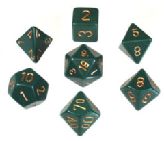 CHX 25415 Dusty Green w/Gold Opaque Polyhedral 7-Die Set