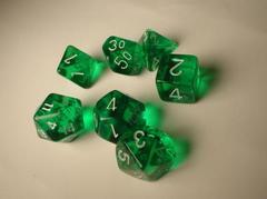 Green/White Translucent Polyhedral 7-Die Set 23005
