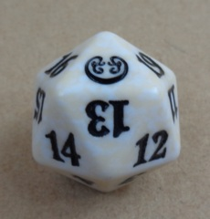 MTG Spin Down Life Counter D20 Dice Kaladesh - White