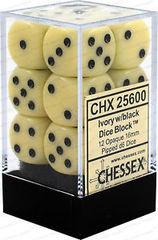 CHX25600 IVORY W/ BLACK 12 OPAQUE 16MM D6 DICE