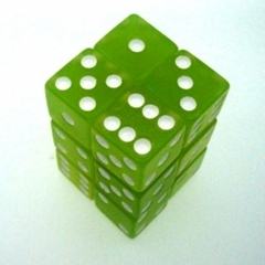 Koplow GID *Glow In The Dark* Lime 12 x d6 16mm The Brick