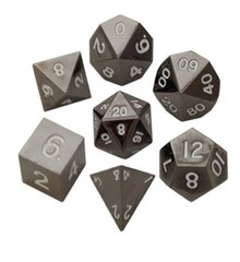 Metallic Dice Games 16mm Sterling Gray Metal Dice Set