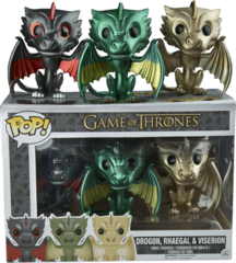 Game of Thrones Drogon, Rhaegal & Vision Metallic Dragon 3 Pack Exclusive Pop Vinyl Figure