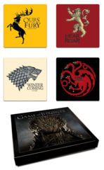 Game of Thrones Dark Horse Set of Four Sigil Coasters House Lannister, Targeryen, Stark, Baratheon