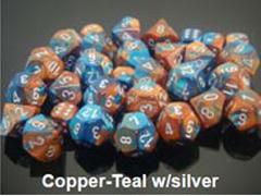 Gemini 7 Dice set (CHX26453) - Copper-Teal / Silver
