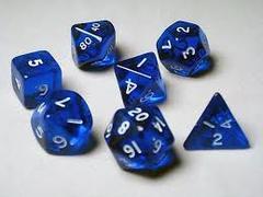 Koplow Games: 7 Piece Poly Die Set - Transparent Blue / White