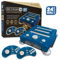 Hyperkin RetroN 3 Gaming Console 2.4 GHz Edition (Blue) (SNES/ Genesis/ NES)