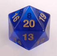 55MM Jumbo D20 Dice (Translucent Blue)
