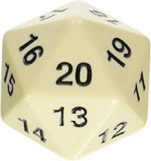 55MM Jumbo D20 Dice (White)