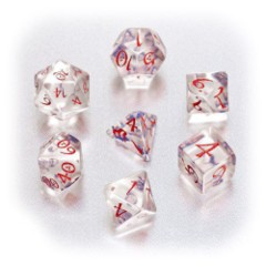 Classic Elven Dice: 7-Die Set: Translucent Red & Blue