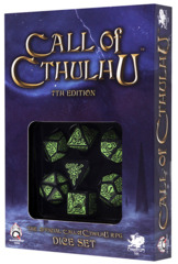 Call of Cthulhu Dice: Black & Green 7-Die Set(7th Edition)