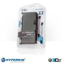 Hyperkin 3DS Aluminum Shell with 2 Retractable Stylus Pens (Gray)
