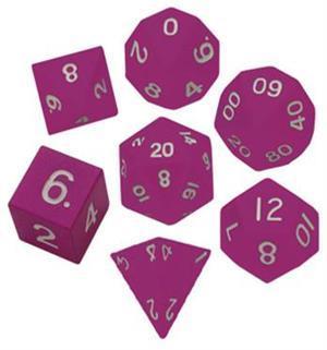 Metallic Dice 16mm Poly Pink Metal 7ct Set