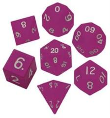 Metallic Dice 16mm Poly Pink Metal 7ct Set