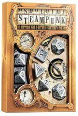 Metal-black Steampunk Dice, set of 7