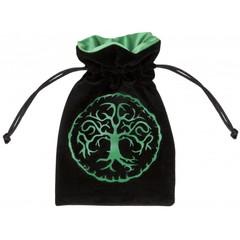 Velour BlackGreen Dice Bag